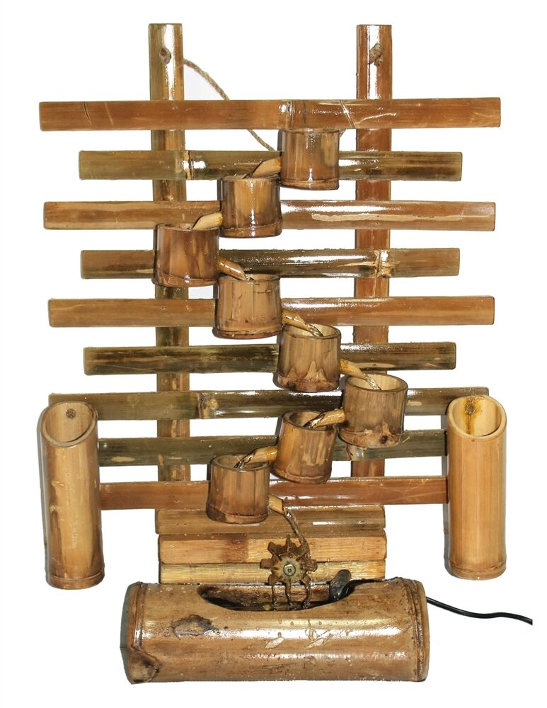Bamboo 26 Quot Tall Cascading Wall Mount Or Table Top Fountain