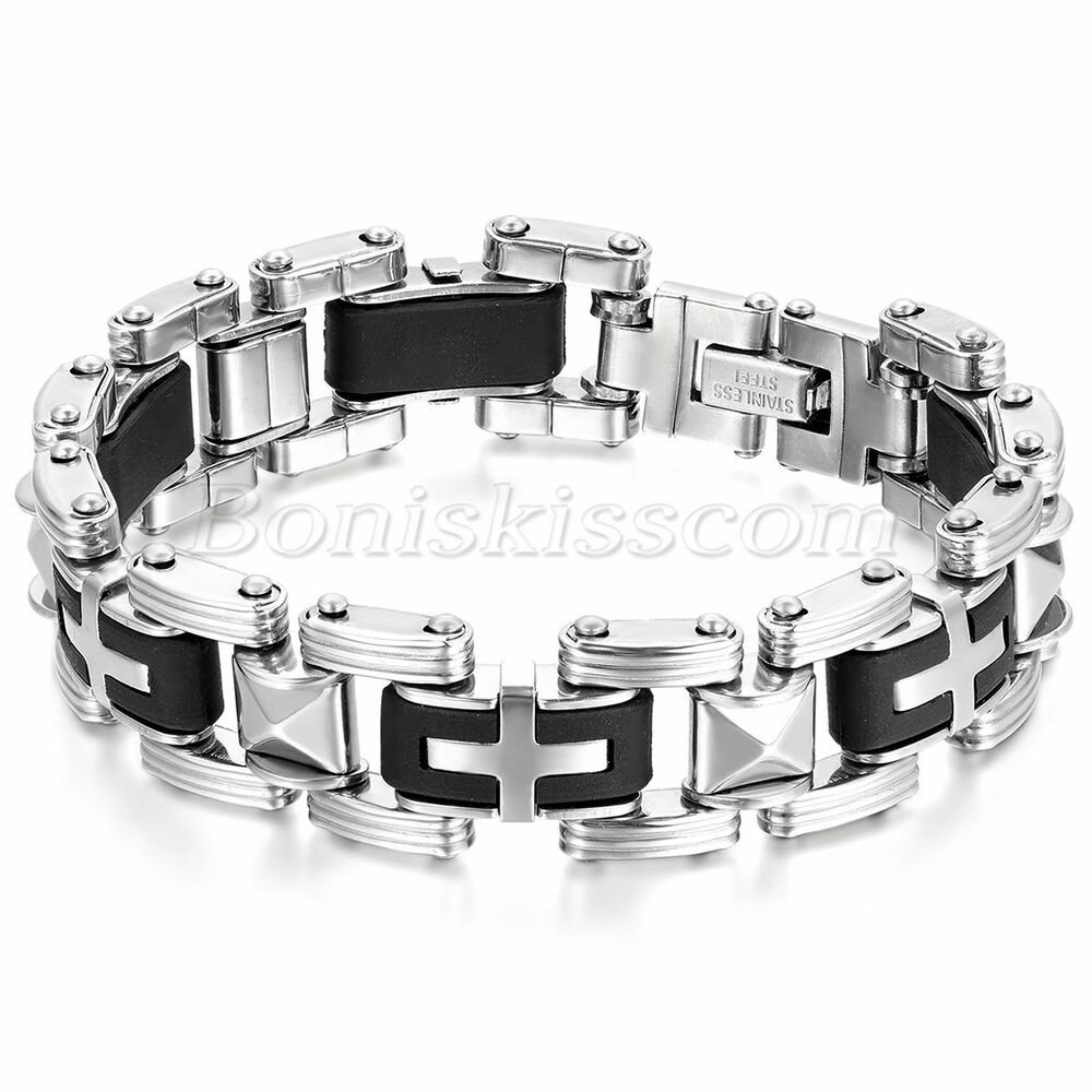 Stainless Steel Bracelet Charms: Men's Fashion Stainless Steel Rubber Motorcycle Chain