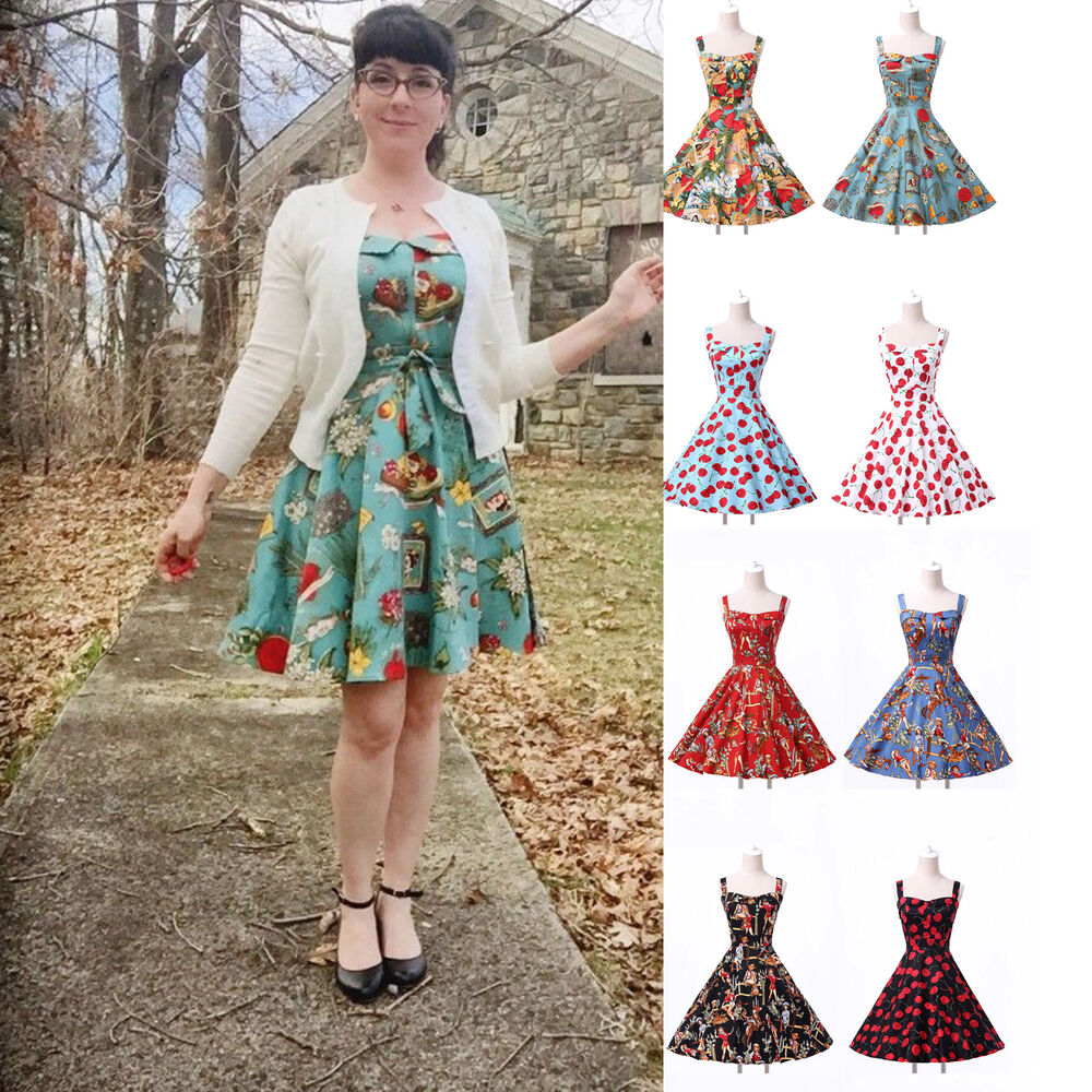 Vintage 50s 60s cotton floral swing dress pinup prom for Classic 50s housewife