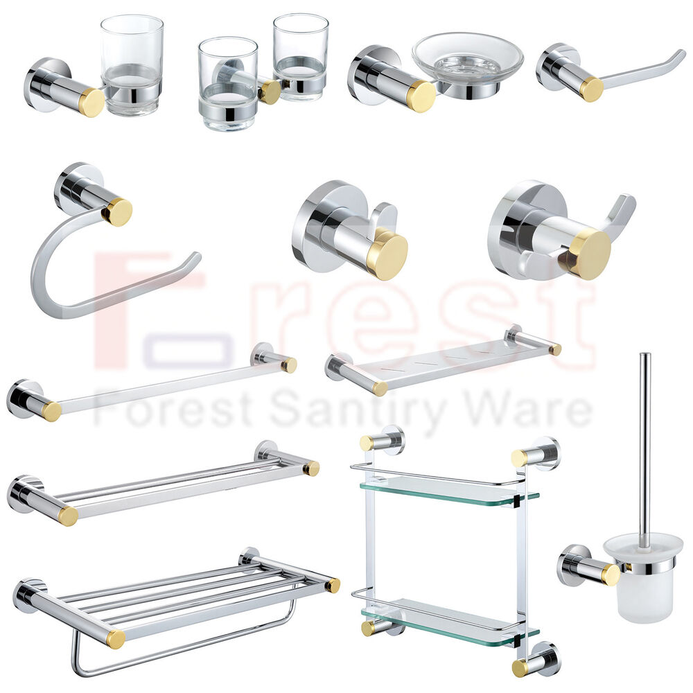 Modern Chrome&Gold Brass Bathroom Accessory Set Wall ...
