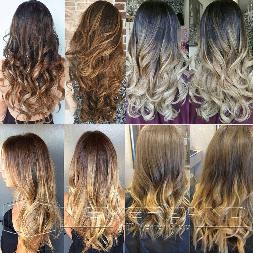 24 Quot Clip In Synthetic Hair Extension Ombre Two Tone Long