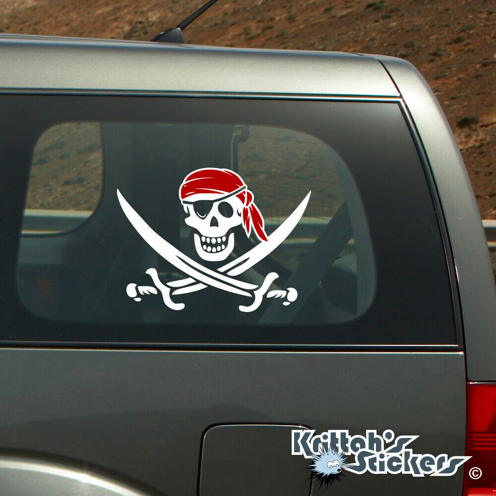 Jolly roger pirate skull with red bandana vinyl decal fits cars more k599 ebay