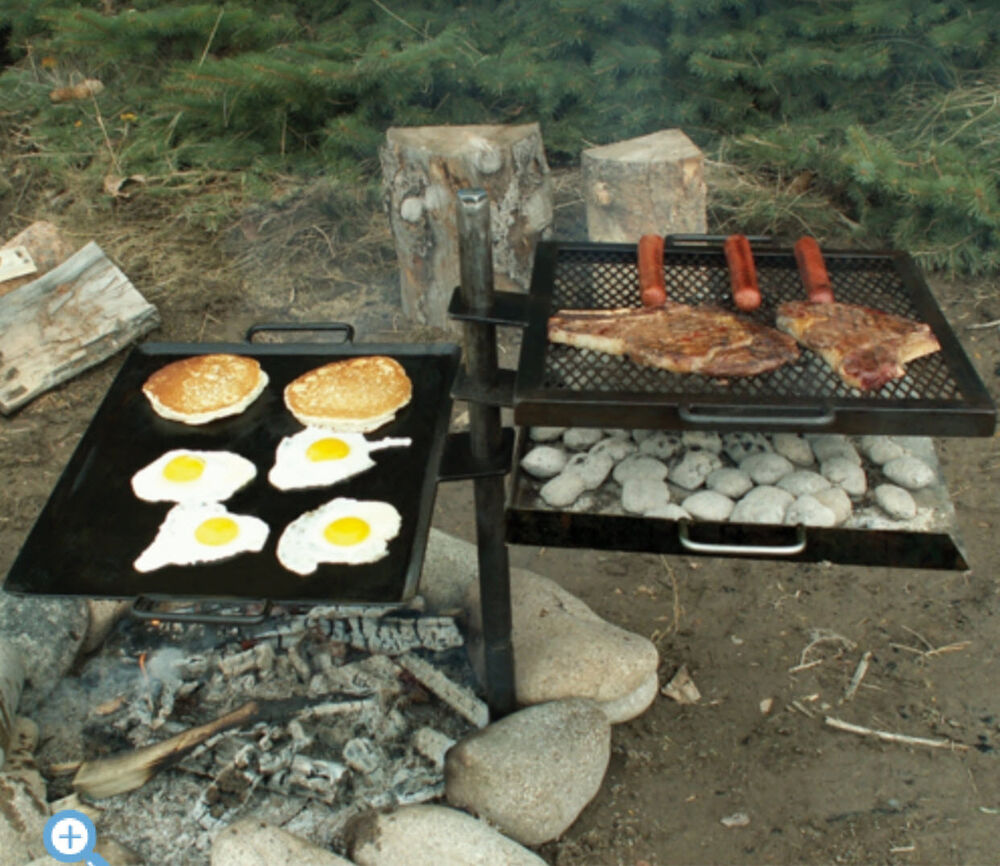 Campfire Cooking Grill Open Fire Fit Camping Patio Outdoor Kitchen Griddle Bbq Ebay