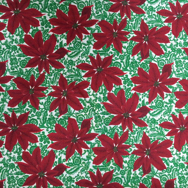 Botanical Print Fabric Cotton Polyester Broadcloth By The