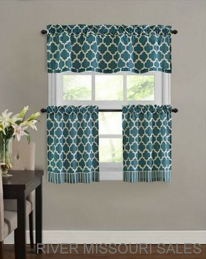 Fretwork Window Valance Amp Tier Set Teal 3 Pieces Modern