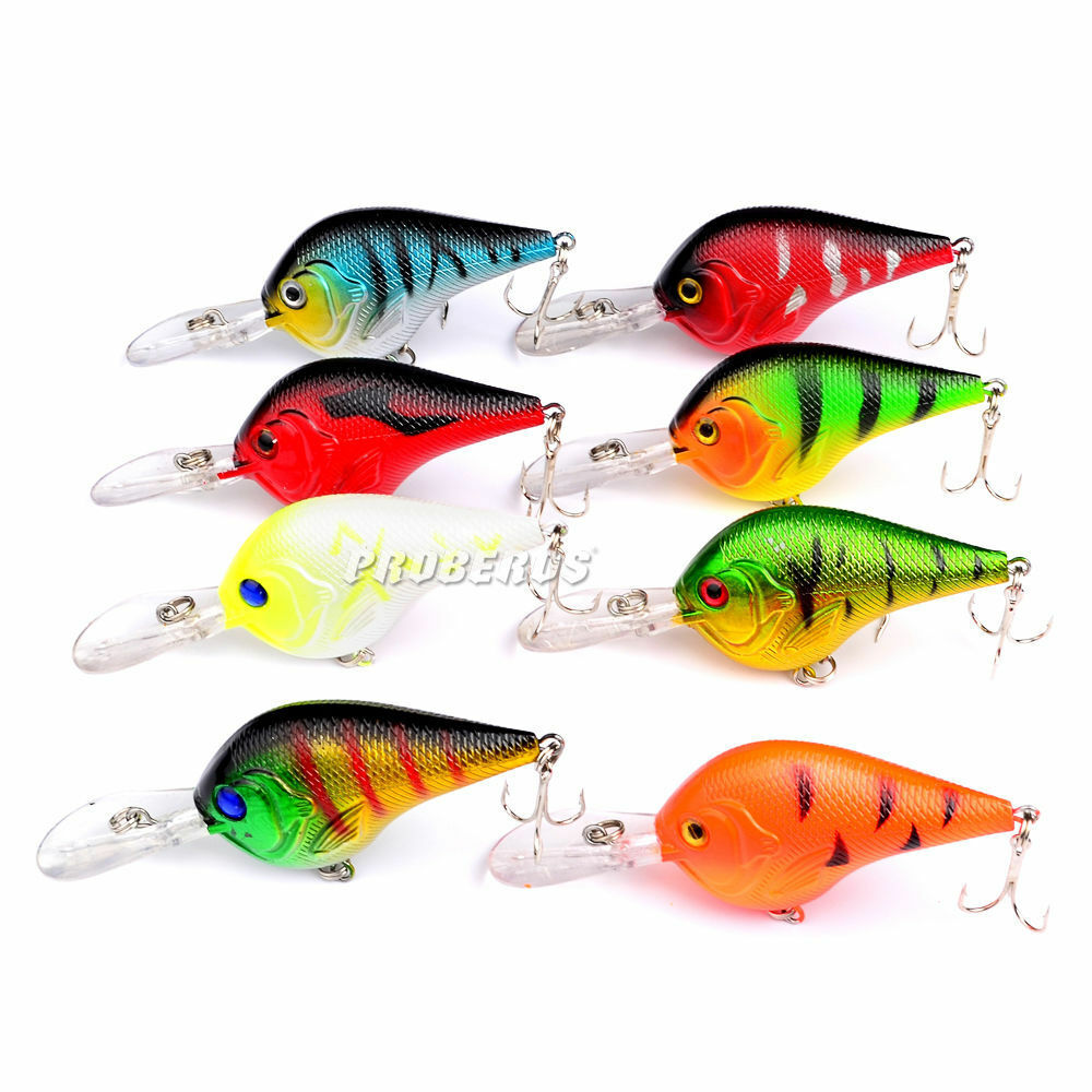 Lot 8pcs plastic fishing lures set bass crankbait crank for Fishing lures ebay