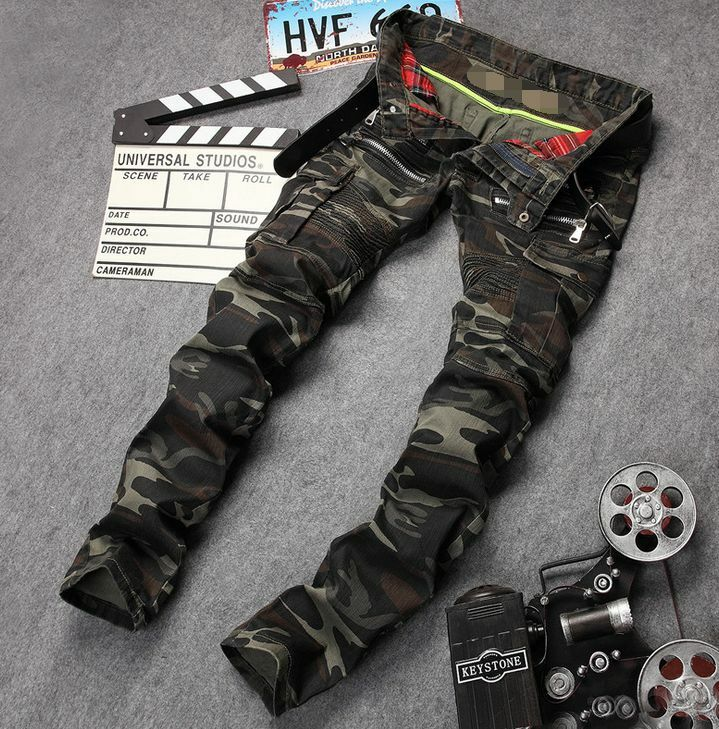 Mens Straight Camouflage Pants Trousers Army Green