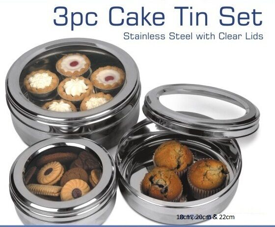 Cake Storage Tins Clear Lid
