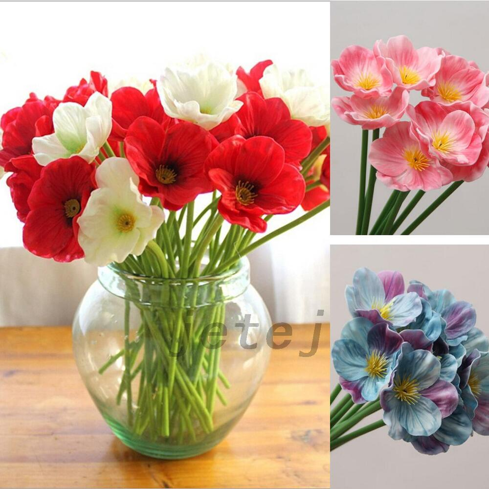 Pink 10pcs artificial poppy silk flowers home wedding for Artificial flowers decoration home