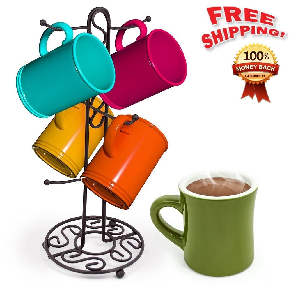 Mug Tree Holder 6 Cups Coffee Tea Cup Rack Bronze Storage
