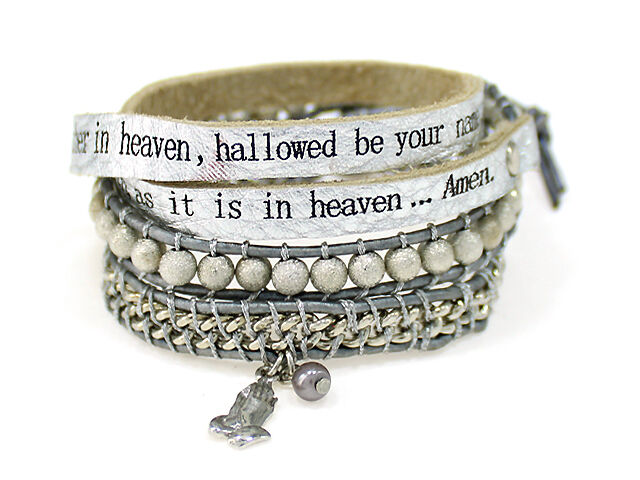 4031300 Lords Prayer Our Father Leather Wrap Bracelet