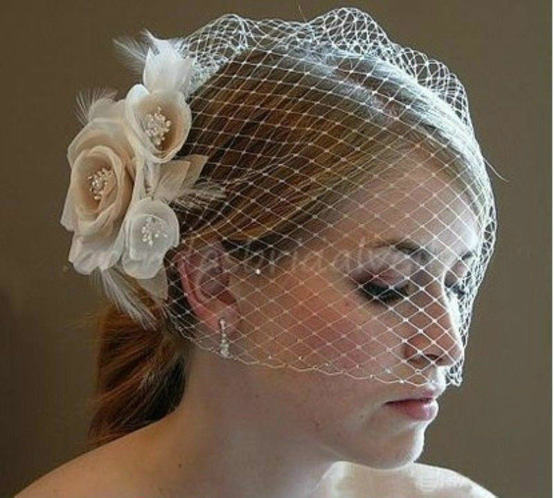 new champagneivory flower fascinator wedding bridal