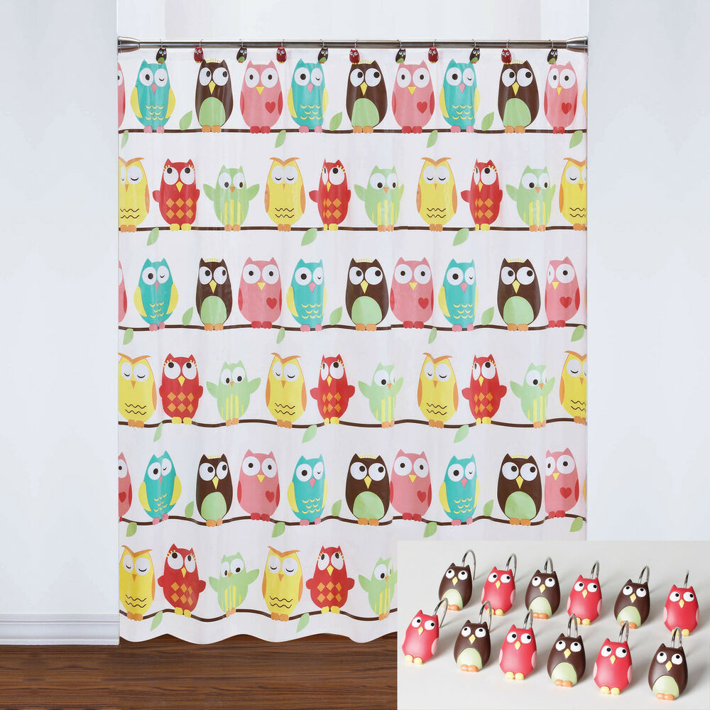 Colorful Owls PEVA Vinyl Bathroom Shower Curtain And 12 Piece Hook Set EBay