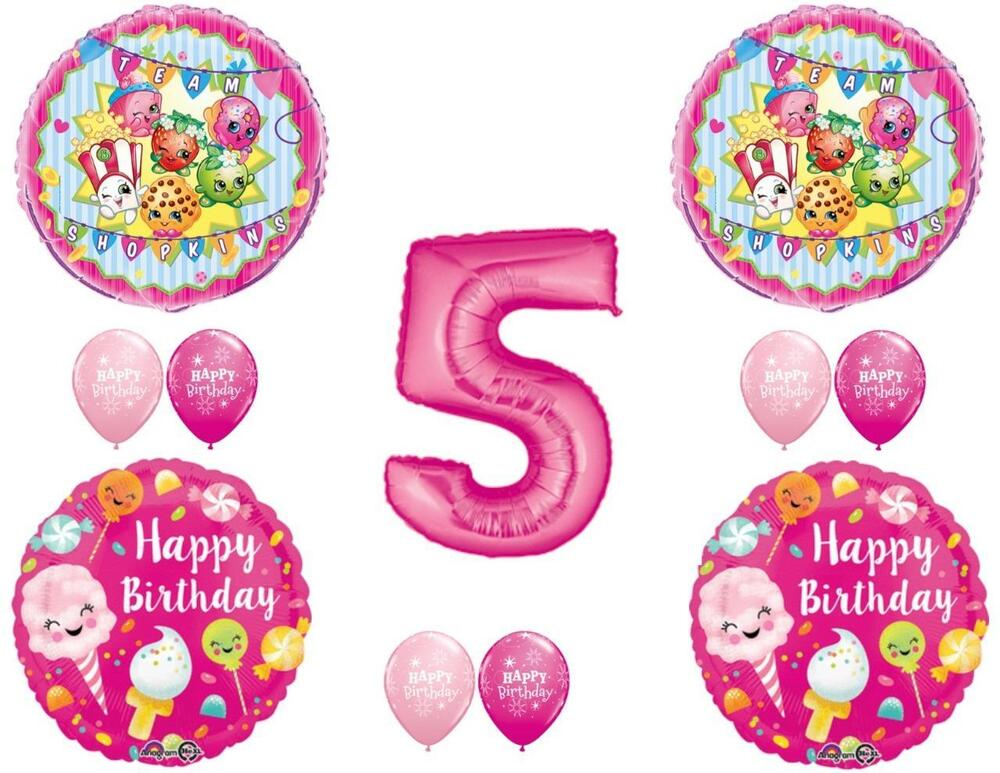 Shopkins 5th sugar filled birthday party balloons for Balloon decoration equipment