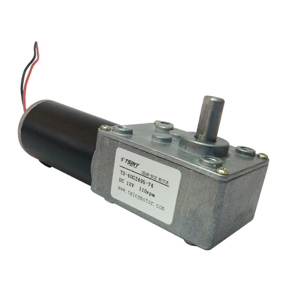 Dc gear motor 12v 110rpm small worm reducer motor with for Small geared electric motors