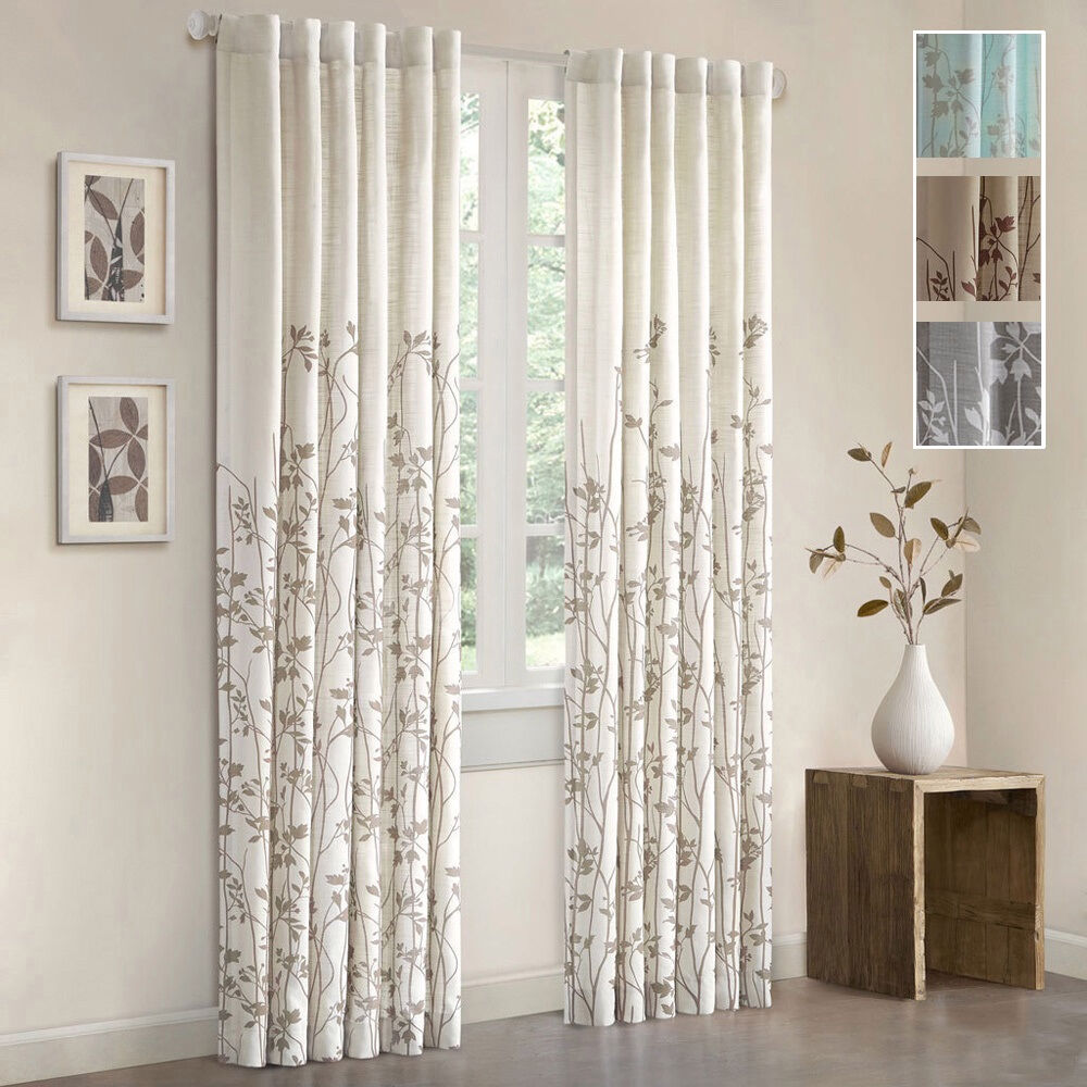 Floral window curtain panel 84 inch rod pocket curtains for Long windows for sale