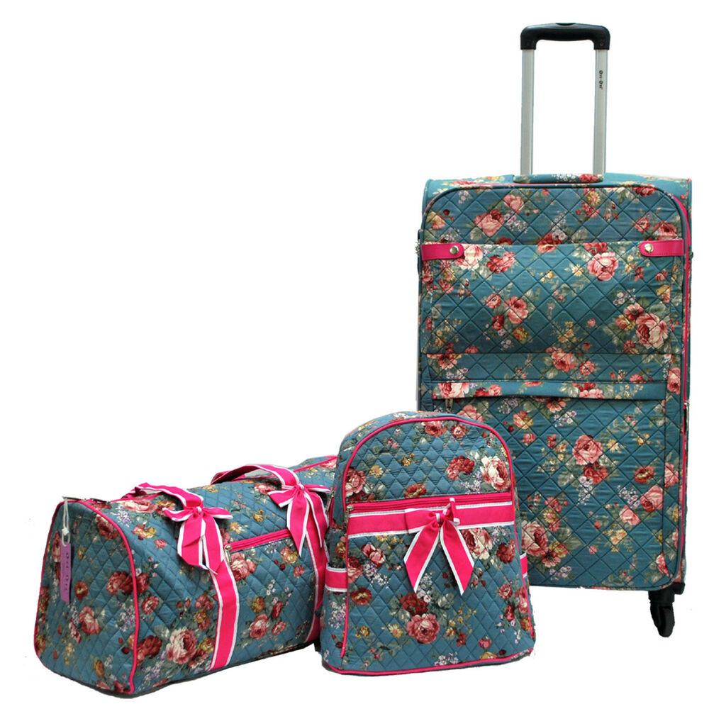 U0026quot;Ori-Oriu0026quot; Brand Super Light Quilted Floral Luggage + Duffel Bag + Backpack(3pc) | EBay