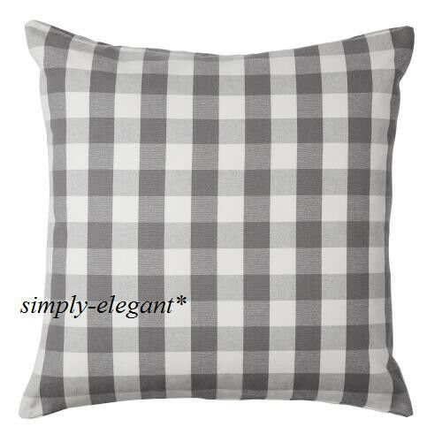 new ikea cushion cover pillow cover plaid smanate 20 x 20 gray white grey check ebay. Black Bedroom Furniture Sets. Home Design Ideas