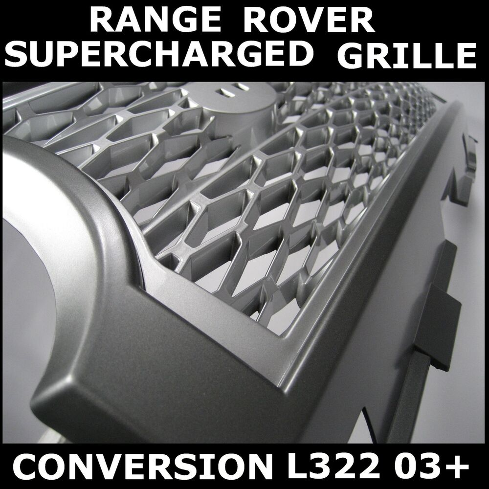 Silver+Grey SUPERCHARGED Conversion Grille For Range Rover