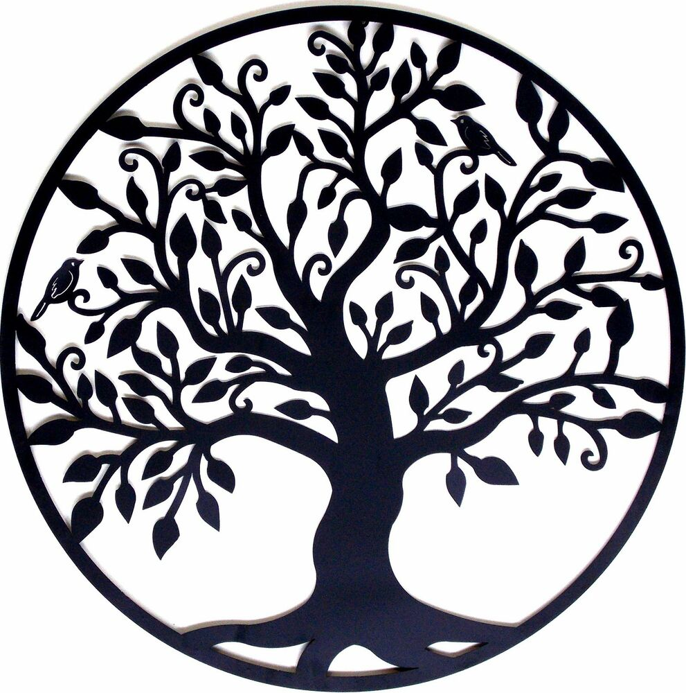 tree of life metal hanging wall art black sculpture indoor. Black Bedroom Furniture Sets. Home Design Ideas