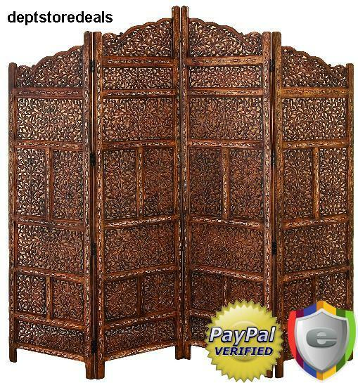 Wood carved panel screen room divider 4 asian folding for Four panel room divider screen