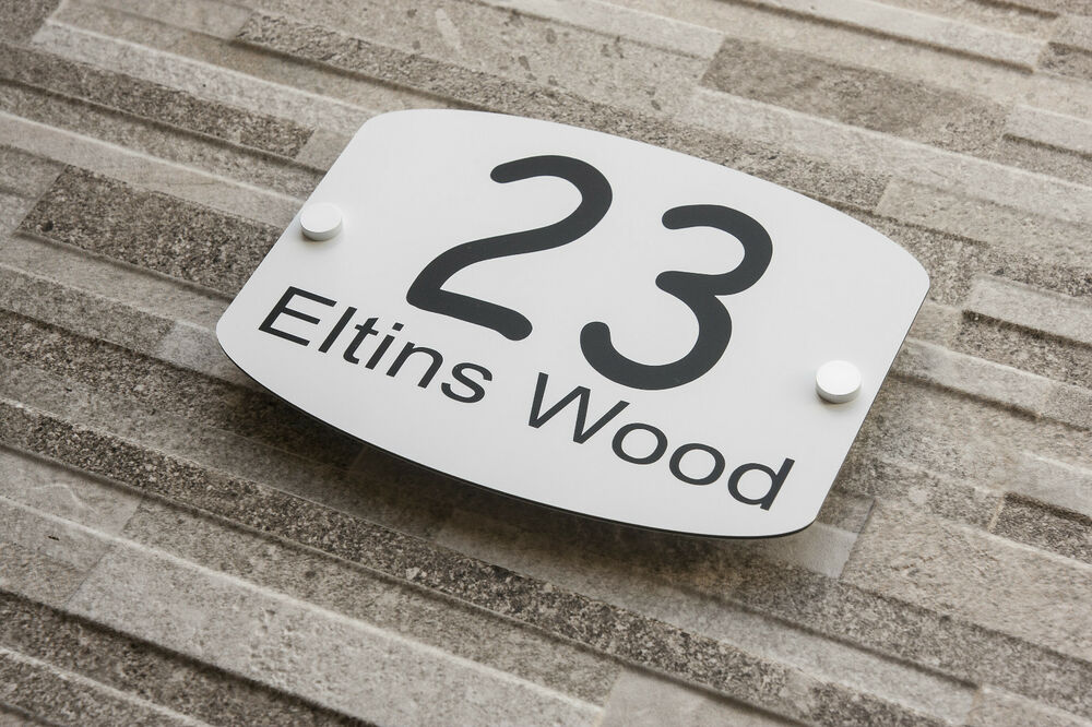 house number modern plaque wall sign number street house. Black Bedroom Furniture Sets. Home Design Ideas