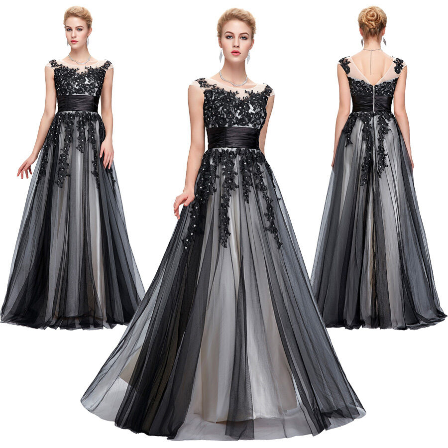 Modest Black Tulle Lace Prom Evening Deb Long Formal Ball