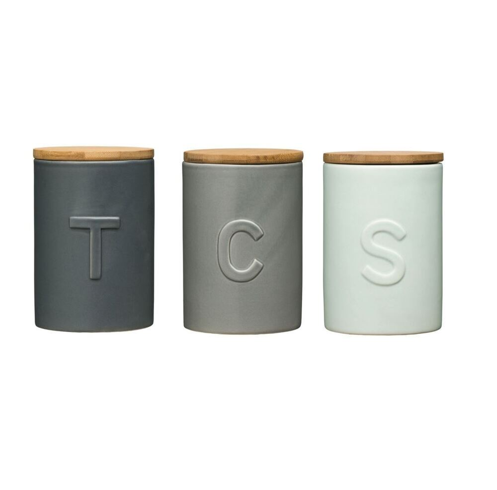 Cream Kitchen Storage Jars: Fenwick Tea Coffee & Sugar Canisters Storage Solution