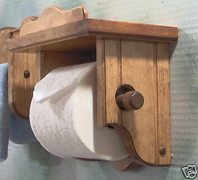 Early american wood toilet paper holder with shelf ebay Wood toilet paper holders