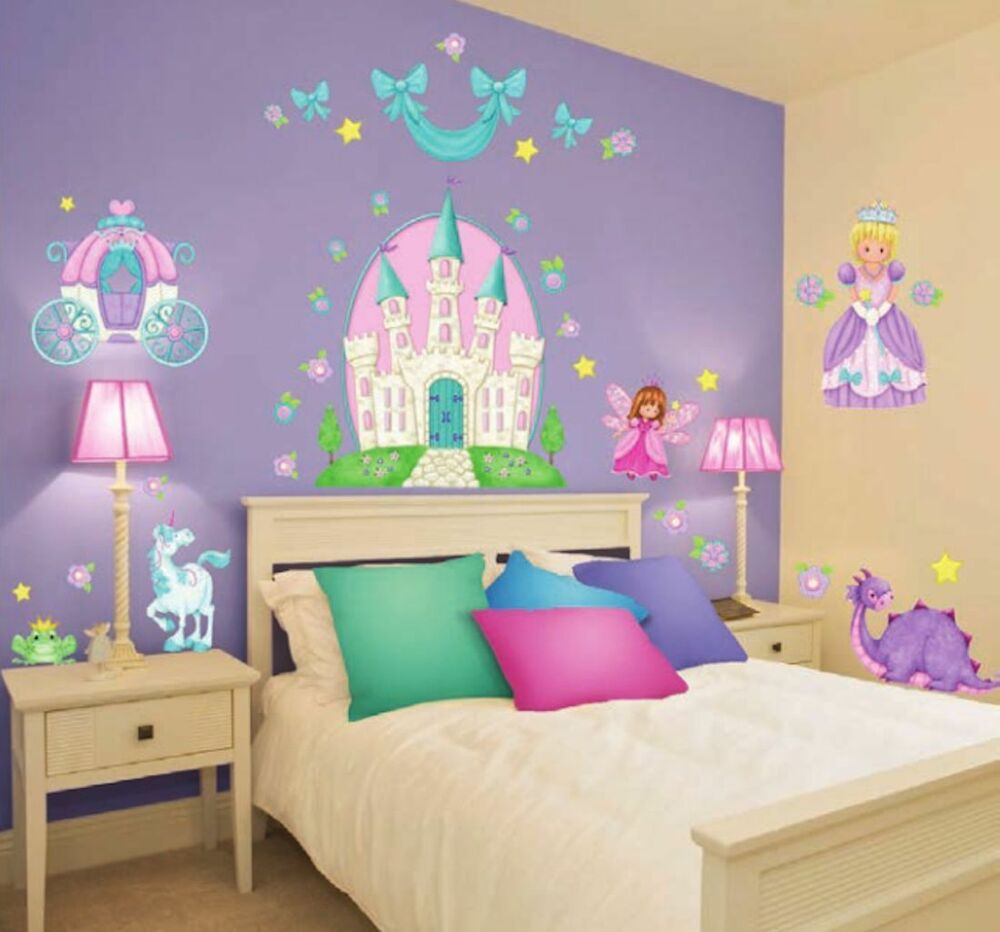 giant princess wall decals 37 castle carriage fairy unicorn stickers room decor ebay. Black Bedroom Furniture Sets. Home Design Ideas