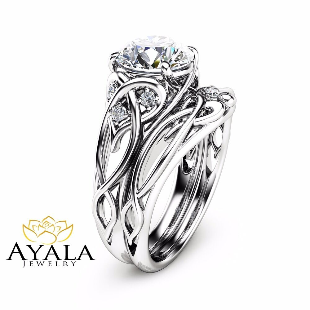 Unusual Engagement Rings: 14K White Gold Unique Engagement Rings 2 Carat Diamond