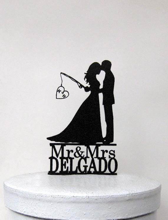 hooked on love wedding cake topper custom wedding cake topper hooked on 2 with initials 15312