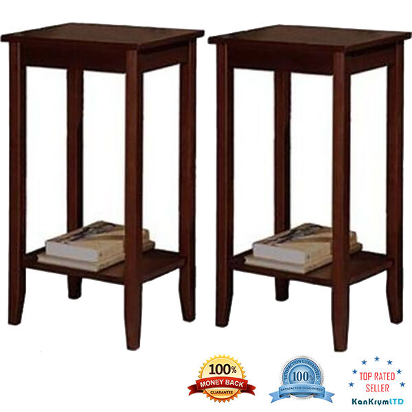 Set Of 2 Coffee Stand Night Side Tall End Table Accent