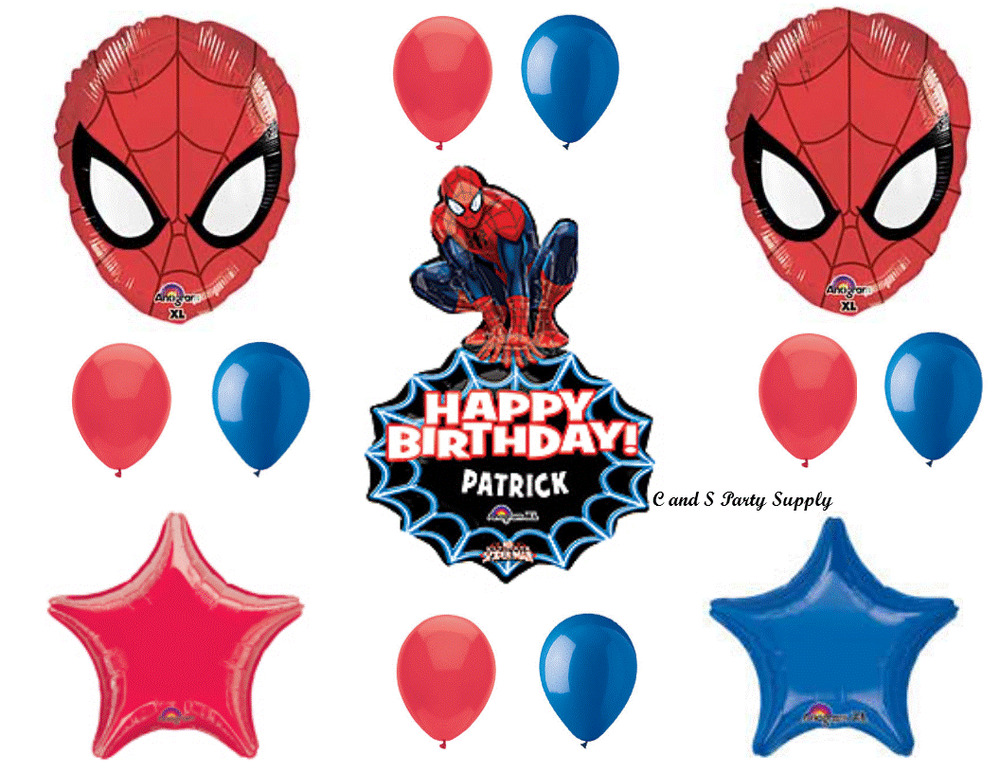 Spiderman personalized birthday party balloon decoration for Balloon decoration equipment