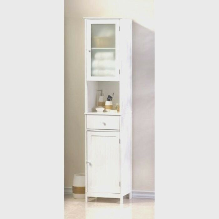 Tall white cabinet bathroom hallway kitchen storage - Tall bathroom storage cabinets with doors ...