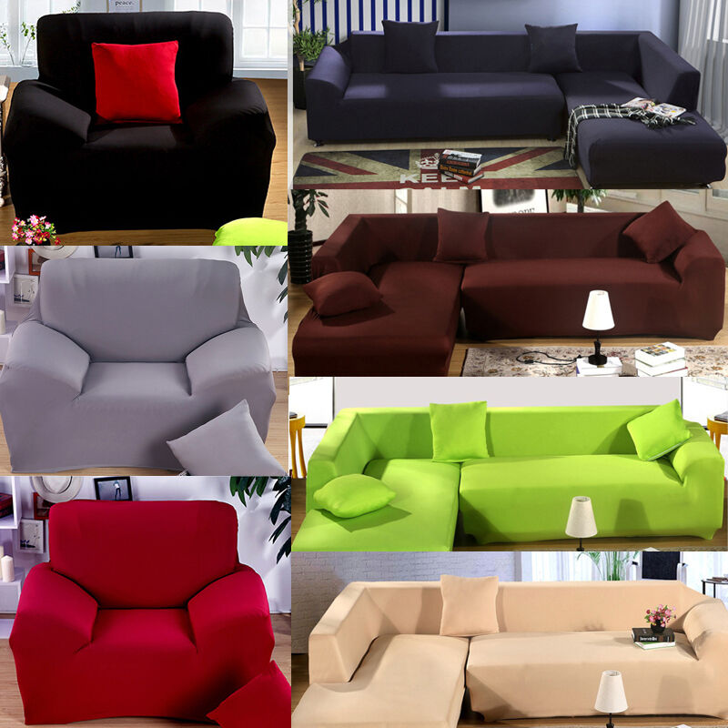 1 2 3 4 Seater L Shape Loveseat Chair Stretch Sofa Couch