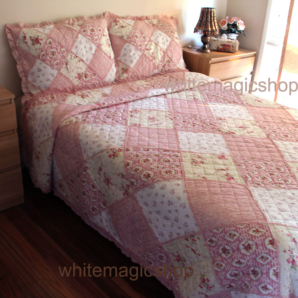 Bedspread Set Patchwork Cotton Quilted Bedspread In Pink
