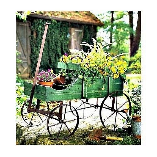 Garden wagon wheelbarrow planter planters outdoor decor for Outdoor decorative items
