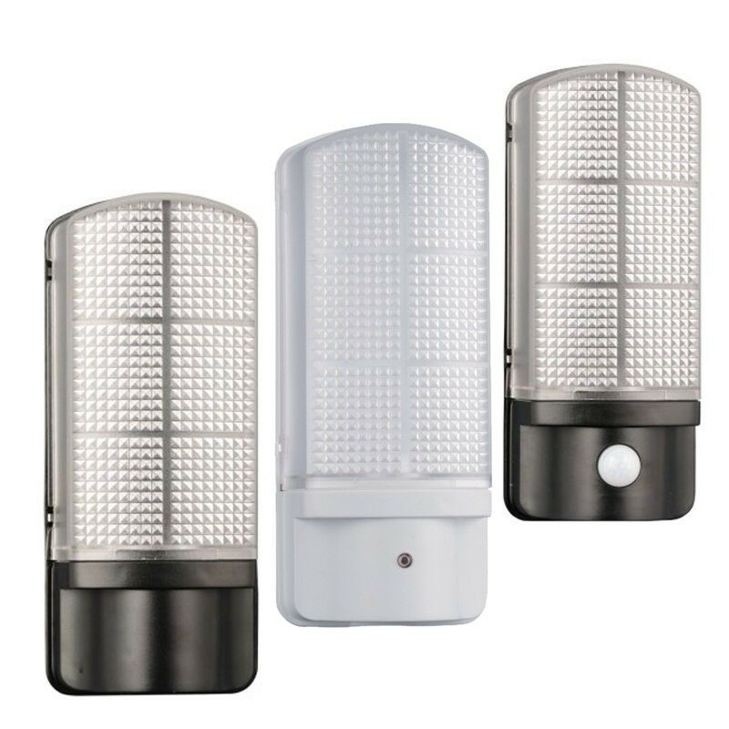 Led Photocell Wall Light : Black/White Outdoor 7 Watt LED Bulkhead Wall Light integrated LED photocell/PIR eBay