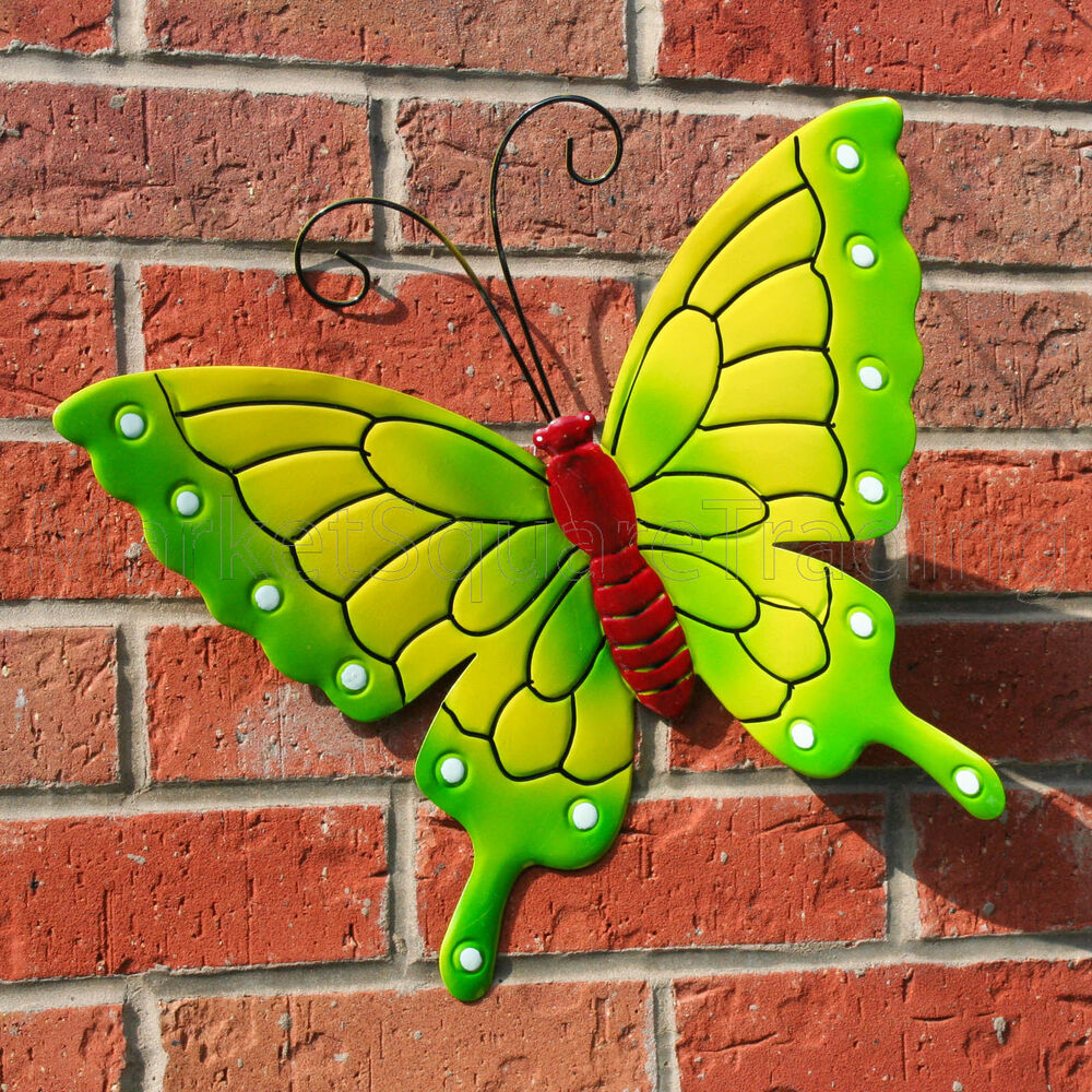 Butterfly outdoor ext lrg new green metal butterflies for Outdoor butterfly decor