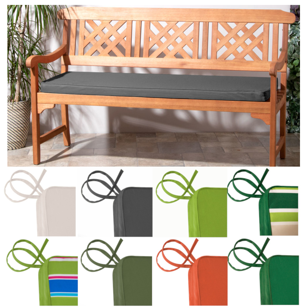 Outdoor waterproof 3 seater tie on bench pad garden furniture swing seat cushion ebay Cheap outdoor bench cushions