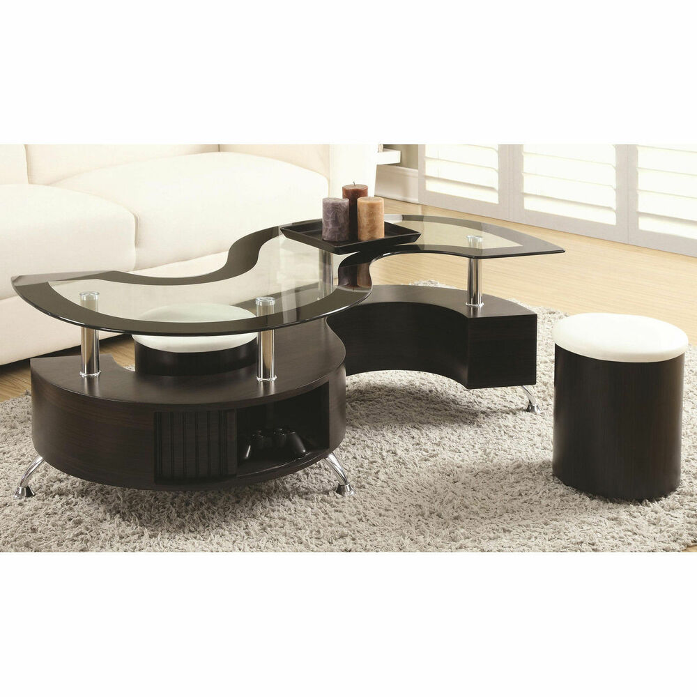 3 Pc S Shape Cappuccino Tempered Glass Top Coffee Table With Shelf Ottomans Set Ebay