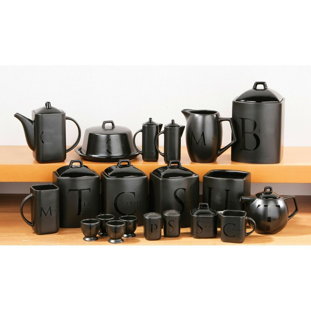 kitchen canisters black ceramic black text tea coffee sugar biscuit utensil teapot 12961