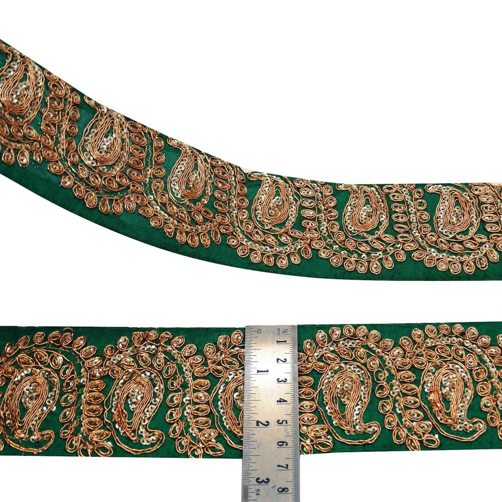 Green metallic embroidered fabric trim ribbon sewing craft for Craft ribbons and trims