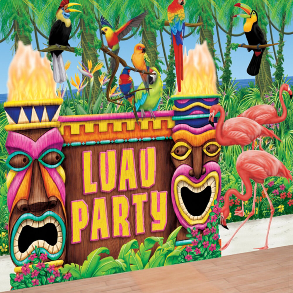 Party Island Beach: Hawaiian LUAU TROPICAL TIKI Bar Wall Decorating Scene