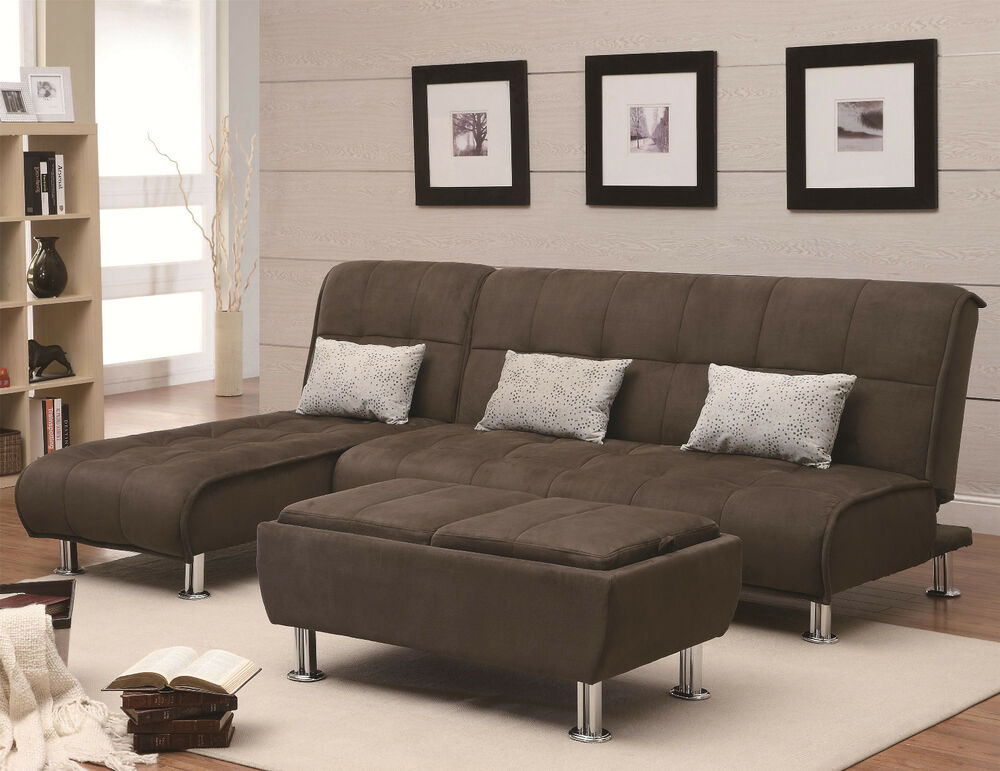 large sleeper sectional sofa living room furniture sofa bed chaise sofa set ebay. Black Bedroom Furniture Sets. Home Design Ideas