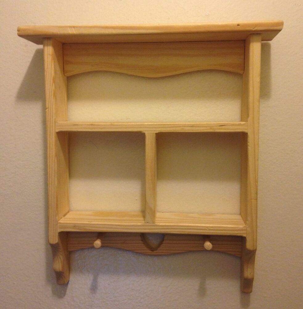 Wall Mounted Wood Shelves ~ Vintage wooden curio cabinet display shelf decor