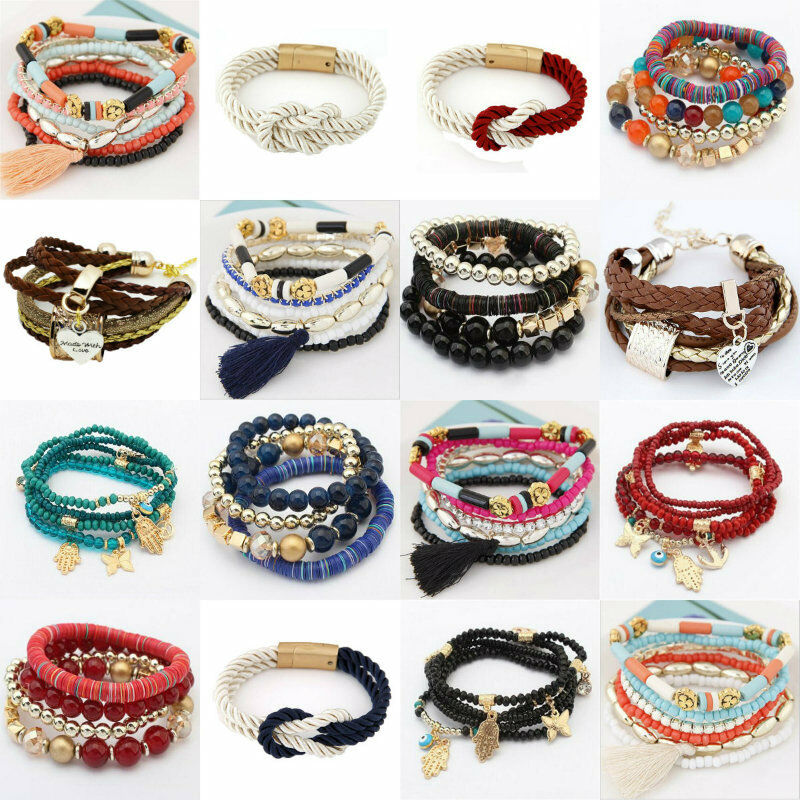Picture Charms For Bracelets: Fashion Women Bangle Cuff Multilayer Bead Leather Charm