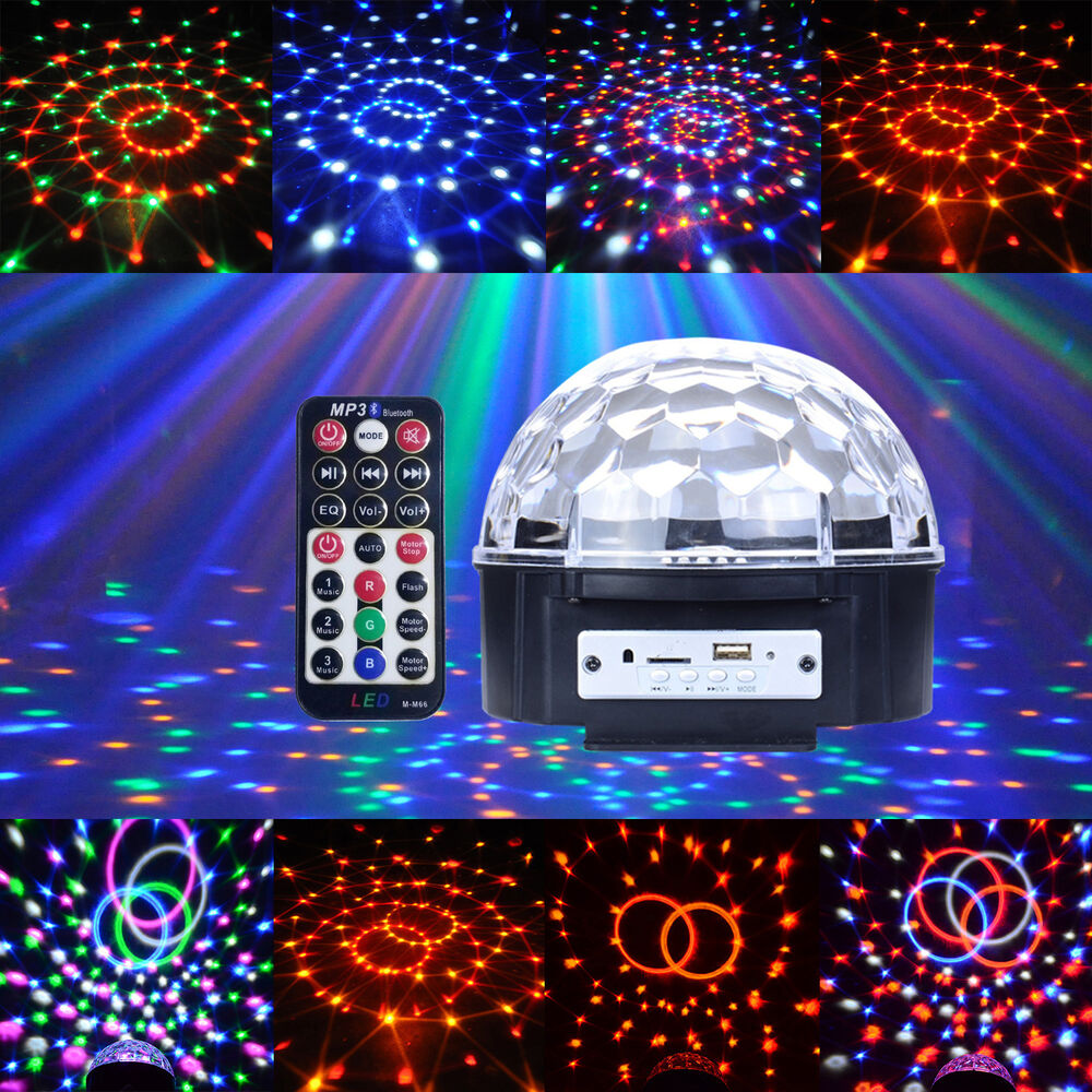 12w portable led battery rgbywv stage light crystal ball mp3 usb disco dj remote ebay. Black Bedroom Furniture Sets. Home Design Ideas