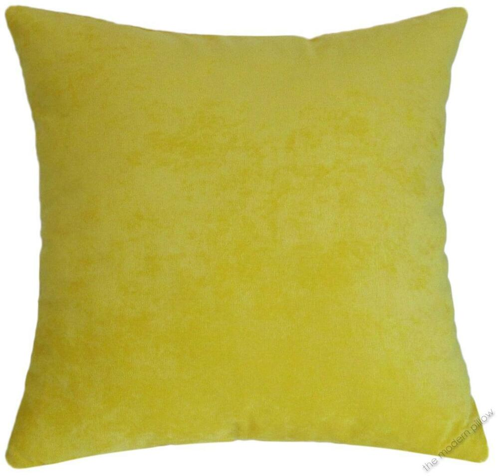 Yellow Velvet Solid Decorative Throw Pillow Cover Cushion Cover 20x20 Quot Ebay